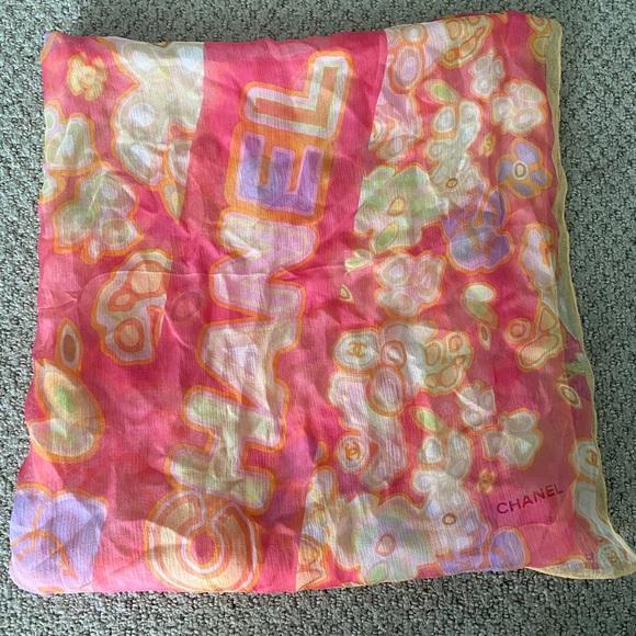 Authentic CHANEL chiffon silk scarf.
